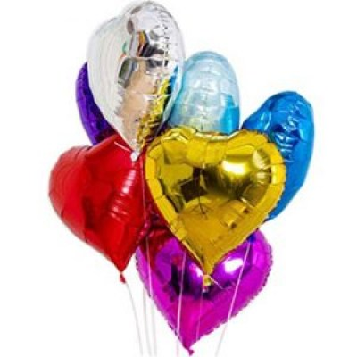 6 mixed color heart shape balloons
