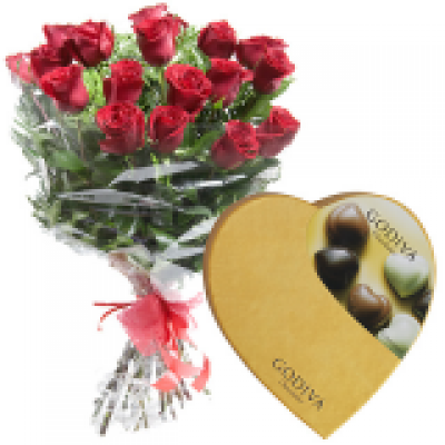 Flower delivery to madrid 12 roses and luxury godiva chocolate negle Image collections