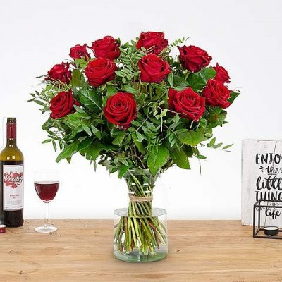 red roses and wine